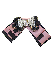 BOW TIE WITH JEWELED BROOCH - RIBBON
