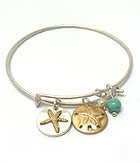 SEALIFE THEME MULTI DISK CHARM ON WIRE BANGLE BRACELET