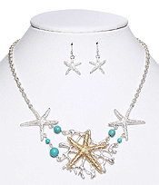 MULTI STARFISH LINK NECKLACE EARRING SET