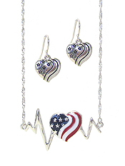 PATRIOTIC AMERICAN FLAG HEART PENDANT NECKLACE SET