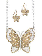 METAL FILIGREE BUTTERFLY PENDANT NECKLACE SET