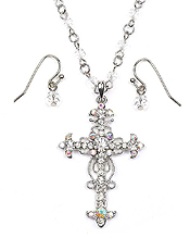 METAL FILIGREE CRYSTAL CROSS PENDANT NECKLACE SET