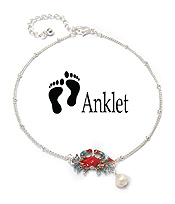 SEALIFE THEME PEARL CHARM ANKLET - CRAB