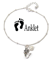 SEALIFE THEME PEARL CHARM ANKLET - MERMAID