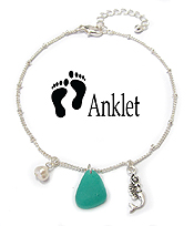 SEALIFE THEME SEAGLASS CHARM ANKLET - MERMAID