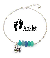 SEALIFE THEME SEAGLASS CHARM ANKLET - CRAB