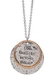 RELIGIOUS INSPIRATION MESSAGE PENDANT LONG NECKLACE - I AM BLESSED BEYOND BELIEF