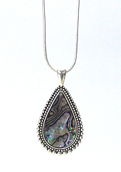 ABALONE TEARDROP PENDANT NECKLACE