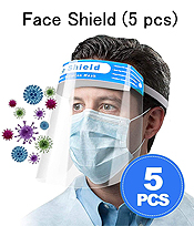 FACE SHIELD CLEAR VISION VISOR WITH COMFORT SPONGE BAND - PROTECT EYE AND FACE (5 PC SET) UNISEX