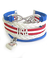 MULTI ROW LEATHERETTE WRAP BRACELET - USA PATRIOTIC AMERICAN FLAG RED BLUE WHITE