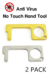 SAFETY TOUCH VIRUS PROTECTOR,DOOR OPENER,KEYPAD ENTRY,STAY WELL HAND TOOL - 2 PCS METAL ALLOY SET