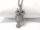 CRYSTAL STUD OWL PENDANT LONG NECKLACE