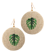 EMBROIDERY MONSTERA EARRING