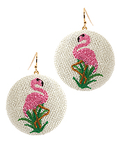 EMBROIDERY FLAMINGO EARRING