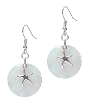 SEALIFE THEME AND ORGANIC CELLULOSE DISC EARRING - STARFISH