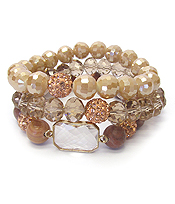 FIRE BALL AND MULTI FACET STONE MIX TRIPLE STRETCH BRACELET