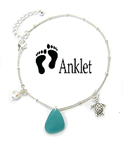 SEALIFE THEME SEAGLASS CHARM ANKLET - TURTLE