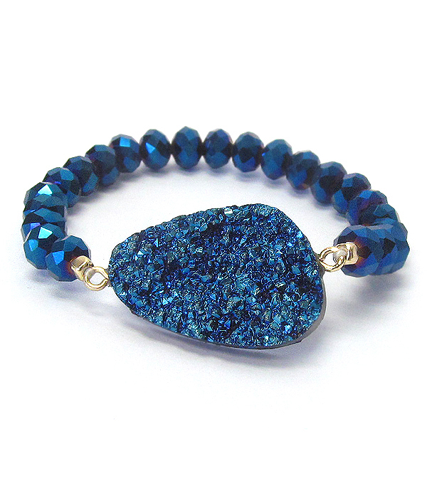 DRUZY AND FACET GLASS BEAD STRETCH BRACELET