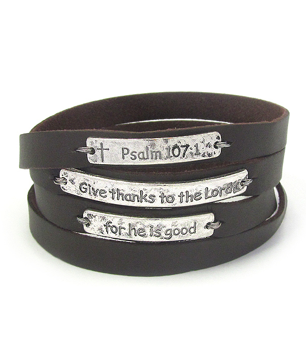 RELIGIOUS INSPIRATION LEATHER WRAP MAGNETIC BRACELET