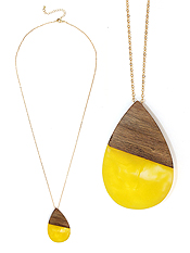 RESIN AND WOOD TEARDROP PENDANT LONG NECKLACE