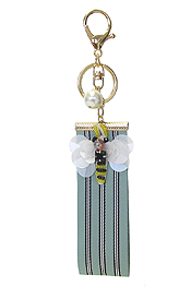 FABRIC JEWELED KEY CHAIN - BEE
