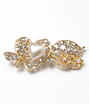 CRYSTAL AND PEARL HEART AND BOW HAIR PIN