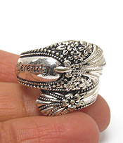 RELIGIOUS  TEXTURED SPOON METAL RING