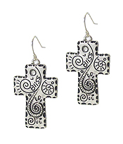 TEXTURED CROSS EARRING - BLISS