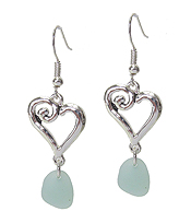 SWIRL HEART AND SEA GLASS DROP EARRING