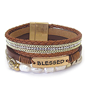 RELIGIOUS INSPIRATION FRESH WATER PEARL MULTI LAYER LEATHER WRAP MAGNETIC BRACELET