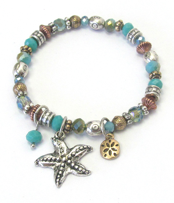 MULTI BEAD AND STARFISH CHARM STRETCH BRACELET