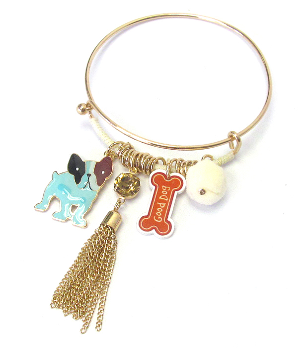 DOG THEME CHARM WIRE BANGLE BRACELET
