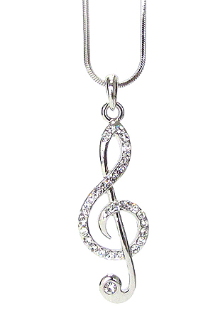 WHITEGOLD PLATING CRYSTAL MUSIC NOTE PENDANT NECKLACE
