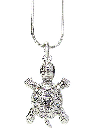 WHITEGOLD PLATING CRYSTAL TURTLE PENDANT NECKLACE