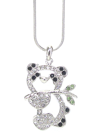 WHITEGOLD PLATING CRYSTAL PANDA BEAR PENDANT NECKLACE