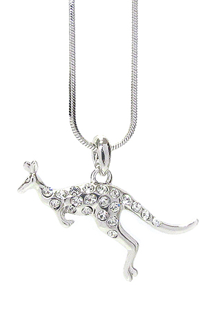WHITEGOLD PLATING CRYSTAL KANGAROO PENDANT NECKLACE