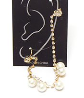 EAR CLIP AND POST LINK RHINESTONE AND PEARL DROP EARRING