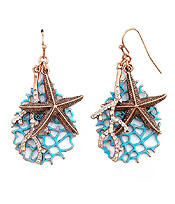 STARFISH AND CRYSTAL CORAL EARRING