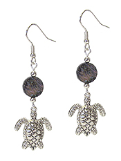 SEALIFE THEME CHARM AND ABALONE DISC EARRING - TURTLE
