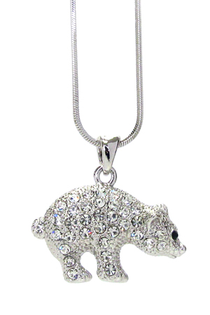 WHITEGOLD PLATING CRYSTAL POLAR BEAR PENDANT NECKLACE