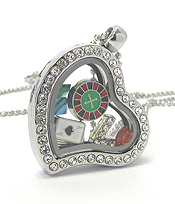 ORIGAMI STYLE FLOATING CHARM HEART LOCKET PENDANT NECKLACE - CASINO - LOCKET OPENS AND CHARMS INCLUDED