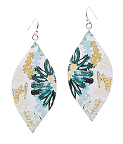 FAUX LEATHER FLOWER PRINT MARQUISE EARRING