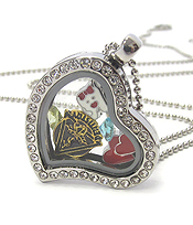 ORIGAMI STYLE FLOATING CHARM HEART LOCKET PENDANT NECKLACE-DENTIST  - LOCKET OPENS AND CHARMS INCLUDED
