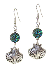 SEALIFE THEME CHARM AND ABALONE DISC EARRING - SHELL