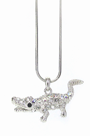 WHITEGOLD PLATING CRYSTAL CROCODILE PENDANT NECKLACE