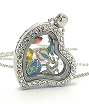 ORIGAMI STYLE FLOATING CHARM HEART LOCKET PENDANT NECKLACE - TRAVEL - LOCKET OPENS AND CHARMS INCLUDED