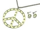 CRYSTAL STUD LUCITE PEACE MARK NECKLACE AND EARRING SET