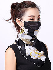 PEARL CHIFFON BREATHABLE SUNSCREEN FACE COVERING FACE MASK SCARF - ADJUSTABLE EAR LOOPS