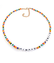 MULTI BEAD NECKLACE - ALWAYS SMILE
