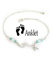 SEA GLASS ANKLET - WAVE AND STARFISH